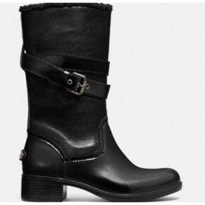 Coach zena black waterproof leather boots 9 B